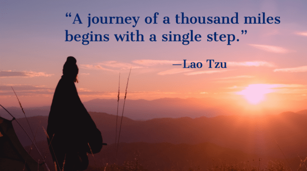 Lao Tzu quote about managing expectations, managing stress, and starting something new