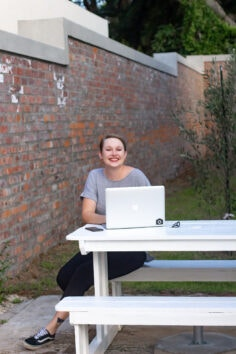 girl working outdoors